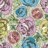 Patroon met uit de vrije hand schets van rozen Stock Afbeeldingen
