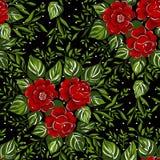 Patroon met van rode rozen op zwarte achtergrond Stock Fotografie