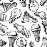 Patroon met verschillende lightbulb vector illustratie