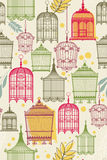 Patroon met vintagbirdcages Stock Afbeelding