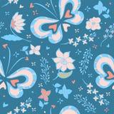 Patroon met vlinders en bloemen, bloemenachtergrond Stock Foto's
