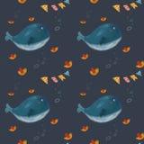 Patroon met walvis royalty-vrije illustratie
