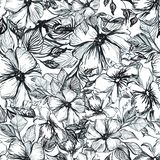 Patroon met zwarte bloemen vector illustratie