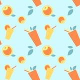 Patroon mooie reeks met gele, oranje drank en vruchten met bladeren op blauwe achtergrond stock illustratie
