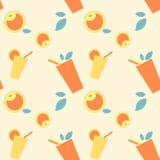 Patroon mooie reeks met gele, oranje drank en vruchten met bladeren op lichtgele achtergrond stock illustratie
