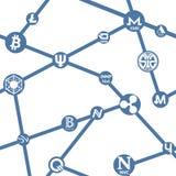Patroon naadloos met cryptocurrency op witte achtergrond Stock Foto
