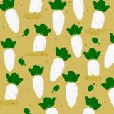 Patroon naadloos met leuke witte radijs op gebied, de stijl van het groentenbeeldverhaal, vector royalty-vrije stock afbeeldingen