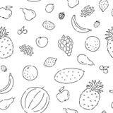 Patroon naadloze vruchten lijnkrabbel Van de het voedsel vectorschets van het installatie de vegetarische dieet ge?soleerde illus stock illustratie