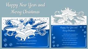 Patroon, tak met sneeuwvlokken en klok Kerstmisuitnodiging met een sneeuwvlok en een Kerstmisstuk speelgoed Vector cliche vrolijk royalty-vrije illustratie