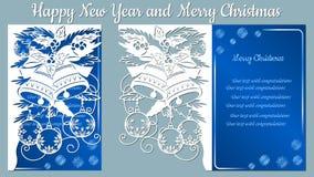 Patroon, tak met sneeuwvlokken en klok Kerstmisuitnodiging met een sneeuwvlok en een Kerstmisstuk speelgoed Vector cliche vrolijk stock illustratie