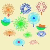 Patroon van bloemenmotief, bloemen, bladeren, krabbels stock afbeeldingen