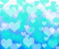 Patroon van Bokeh het blauwe harten royalty-vrije illustratie