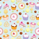 Patroon van cakes en gebakjes Royalty-vrije Stock Foto's