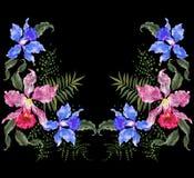 Patroon van de borduurwerk het exotische halslijn met exotische bloemen Stock Afbeelding