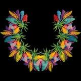 Patroon van de borduurwerk het kleurrijke bloemenhalslijn Heldere vector backg Royalty-vrije Stock Afbeeldingen