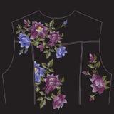 Patroon van de borduurwerk het kleurrijke tendens met rozen voor de bedelaars van het jeansjasje Stock Afbeeldingen
