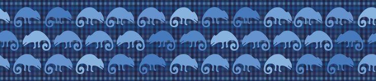 Patroon van de de hagedis naadloze grens van het indigo het blauwe kameleon Herhaalbare geweven reptiel vectorillustratie stock illustratie