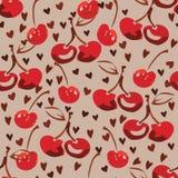 Patroon van de hand drawind het rode kers Stock Fotografie