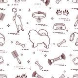 Patroon van de hond van de silhouetchow-chow, kom, been, borstel, kam, speelgoed en andere punten aan zorg voor huisdier vector illustratie