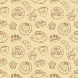 Patroon van de koffie het naadloze lijn. Stock Afbeelding