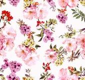 Patroon van de lentebloemen en takken Stock Foto's