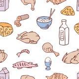 Patroon van de melk en de vleesproducten Stock Foto's