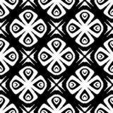 Patroon van de ontwerp het naadloze zwart-wit bloem Stock Afbeeldingen