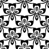 Patroon van de ontwerp het naadloze zwart-wit bloem Stock Foto