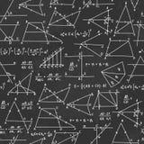 Patroon van de school het naadloze vectorkrabbel met verschillende mathematica Royalty-vrije Stock Afbeeldingen