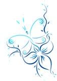 Patroon van de vlinder en de bloem Stock Foto's