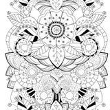 Patroon van de voorraad het naadloze bloemen zwart-witte krabbel bor stock fotografie