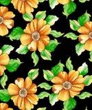 patroon van de waterverf het digitale bloem op zwarte royalty-vrije illustratie
