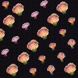 Patroon van de waterverf het Naadloze Bloem, donkere achtergrond met zwarte punten Stock Foto