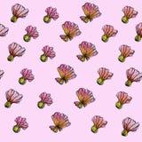 Patroon van de waterverf het Naadloze Bloem, roze achtergrond Royalty-vrije Stock Foto's
