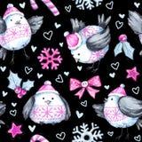 Patroon van de waterverf het naadloze groet met leuke vliegende vogels Nieuw jaar De illustratie van de viering Vrolijke Kerstmis stock illustratie