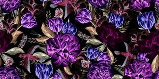 Patroon van de waterverf het naadloze lente met pioen, tulp, katoen en vogels royalty-vrije illustratie