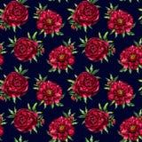 Patroon van de waterverf het rode pioen Stock Afbeelding