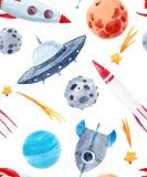 Patroon van de waterverf het ruimtebaby stock illustratie