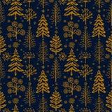 Patroon van de winter het gouden naadloze Kerstmis voor ontwerp verpakkend document, prentbriefkaar, textiel royalty-vrije illustratie