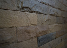 Patroon van de zijaanzicht het Lichtbruine Bakstenen muur Royalty-vrije Stock Afbeeldingen