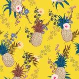 Patroon van de de zomer het naadloze vector bloemendruk in in kleurrijk s Stock Foto's