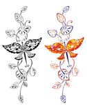 Patroon van een vlinder en bladeren Stock Fotografie