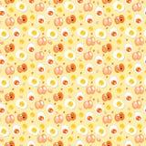 Patroon van ei, Gebraden ei en ei met gele achtergrond, Vector royalty-vrije stock afbeelding