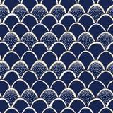 Patroon van Fishscale van de indigo Hand-Drawn Japanse Stijl Vector Naadloze Katazome verzet zich tegen Geverfte Druk Het stippel stock illustratie