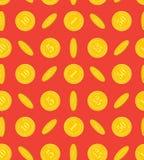 Patroon van gouden muntstukken op een rode achtergrond Stock Afbeelding