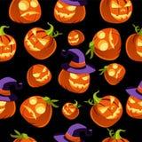 Patroon van Halloween-Pompoenen in Heksenhoed Stock Afbeelding