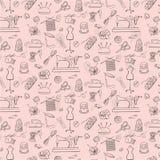 Patroon van het breien, het naaien en handwerkpictogrammen royalty-vrije illustratie