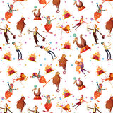 Patroon van het circus het Naadloze Decoratieve Retro Beeldverhaal Stock Foto's