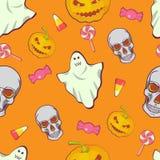 Patroon van het de jonge geitjesbeeldverhaal van Halloween het naadloze heldere Schedel, spook, suikergoed en pompoen Stock Foto's