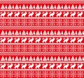Patroon van het de winter het naadloze feestelijke Noorse pixel van het Kerstmisnieuwjaar - Skandinavische stijl stock illustratie